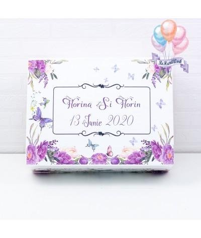 Cutie amintiri de nunta/miresica flori mov - 1