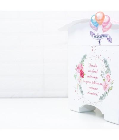 Cufar nunta cu trandafiri roz  (150-200 plicuri) - 4