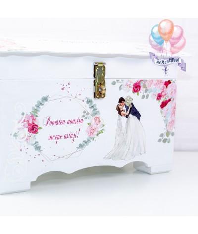 Cufar nunta cu trandafiri roz  (150-200 plicuri) - 2
