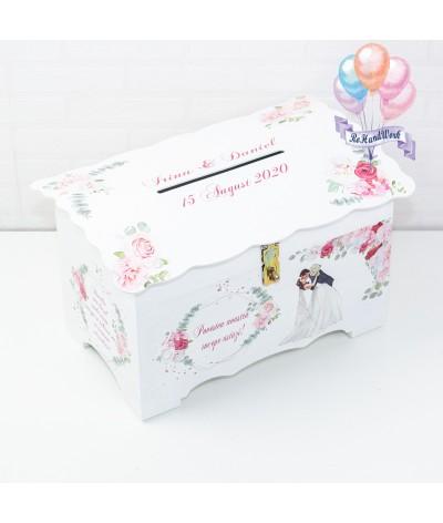 Cufar nunta cu trandafiri roz  (150-200 plicuri) - 1