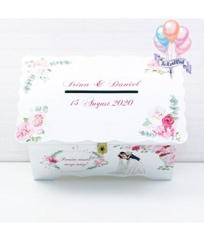 Cufar nunta cu trandafiri roz  (150-200 plicuri) - 5