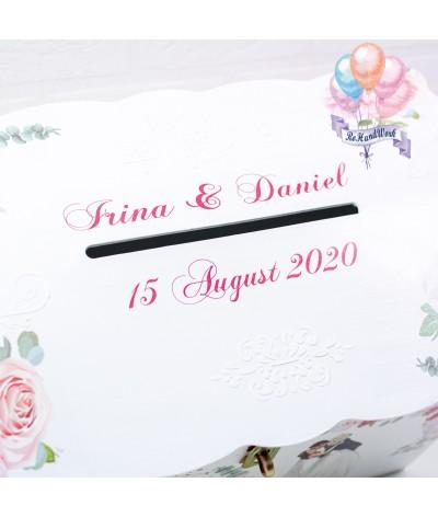 Cufar nunta cu trandafiri roz  (150-200 plicuri) - 6