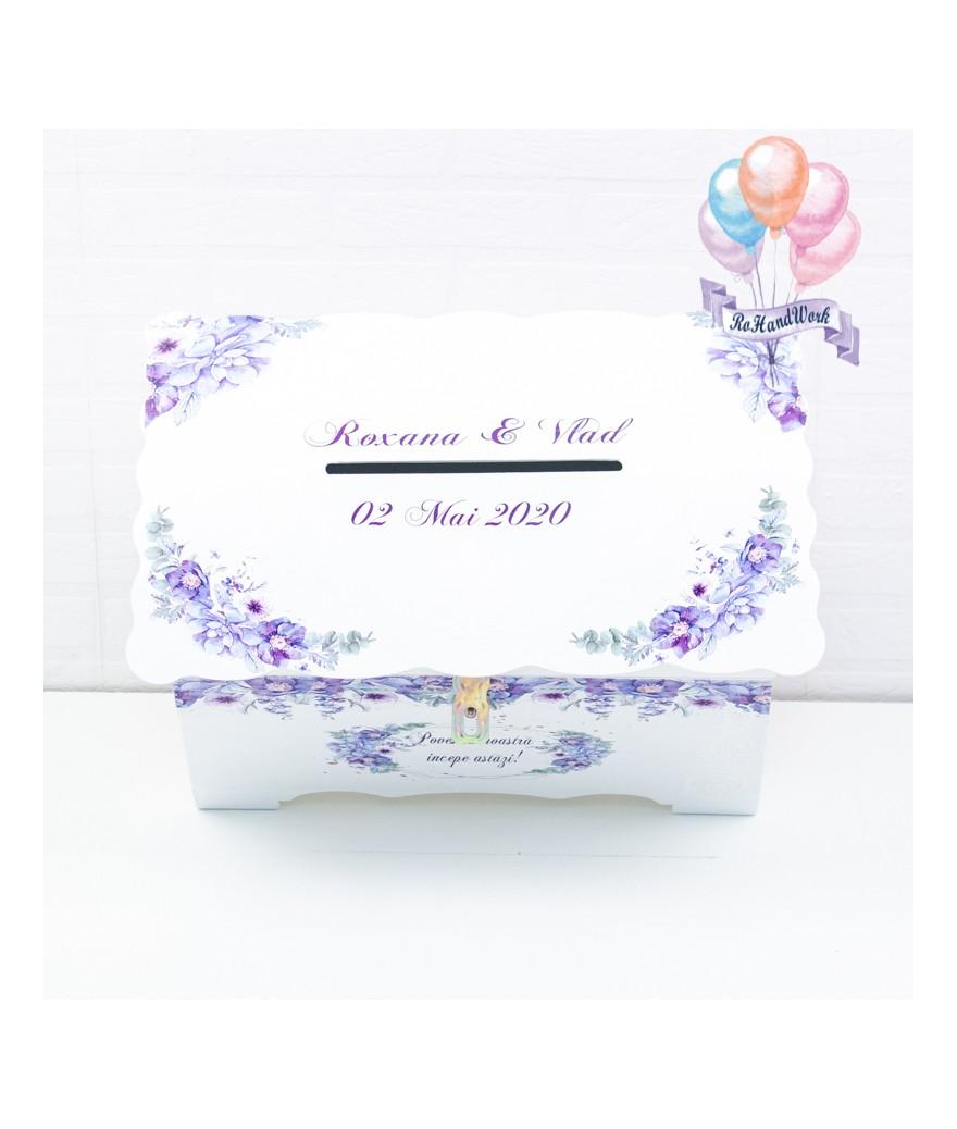 Cufar pentru nunta cu flori delicate mov (150-200 plicuri) - 1