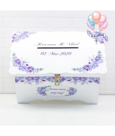 Cufar pentru nunta cu flori delicate mov (150-200 plicuri) - 5
