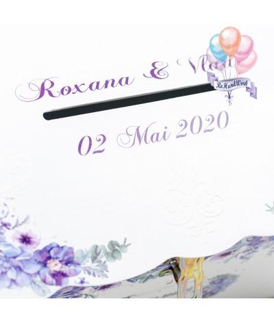 Cufar pentru nunta cu flori delicate mov (150-200 plicuri) - 6