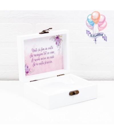 Cutie verighete personalizata cu flori mov - 2