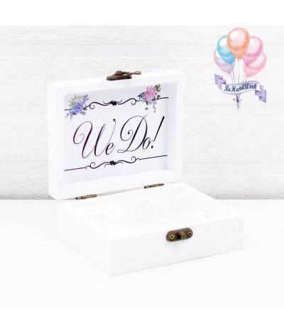 Cutie pentru verighete personalizata cu hortensii mov - 2