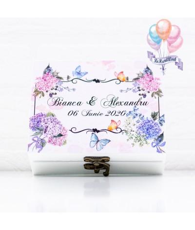 Cutie pentru verighete personalizata cu hortensii mov - 1