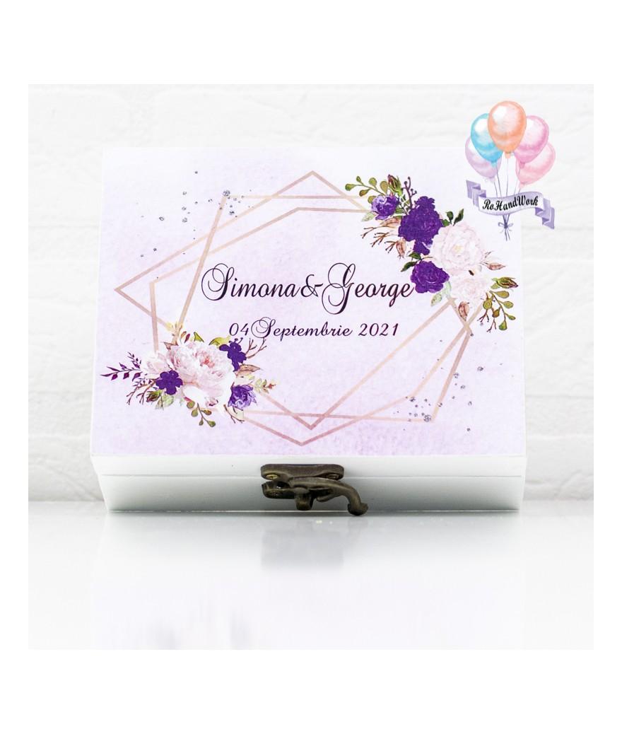 Cutie pentru verighete elegance cu trandafiri - 1
