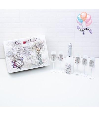 Cutie amintiri personalizata cu pahare si sticla de sampanie - 1