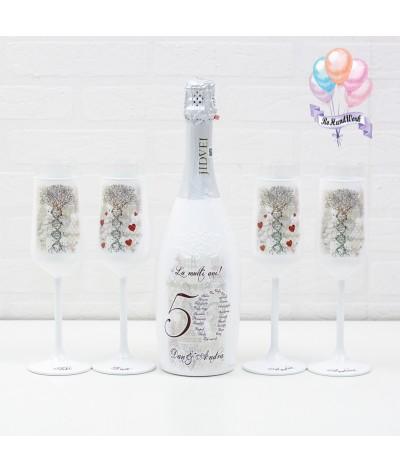 Cutie amintiri personalizata cu pahare si sticla de sampanie - 4