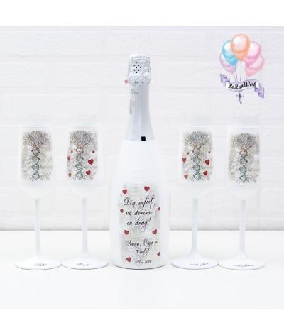 Cutie amintiri personalizata cu pahare si sticla de sampanie - 6