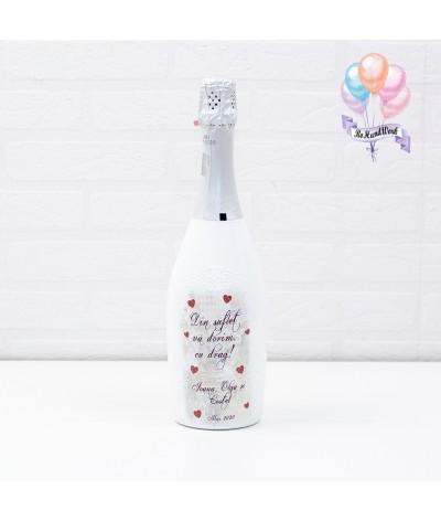 Cutie amintiri personalizata cu pahare si sticla de sampanie - 5