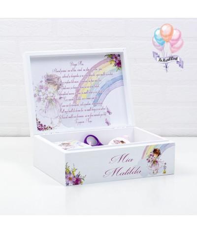 Cutie medie amintiri, perie, oglinda si cutie mot Fetita roz - 4