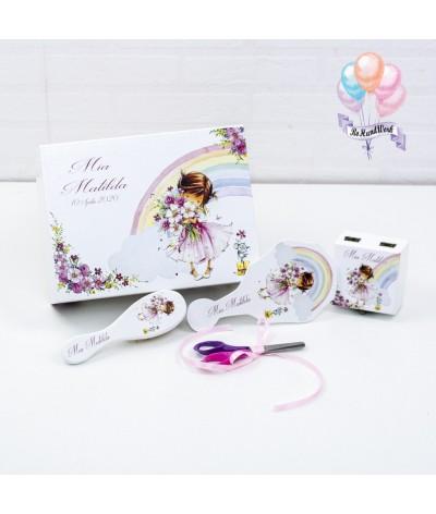 Cutie medie amintiri, perie, oglinda si cutie mot Fetita roz - 1