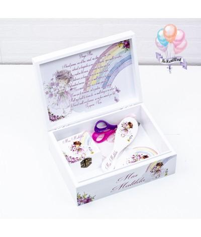 Cutie medie amintiri, perie, oglinda si cutie mot Fetita roz - 2