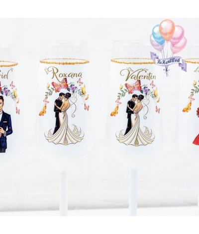 Set pahare siluete si fluturi aurii nunta - 2