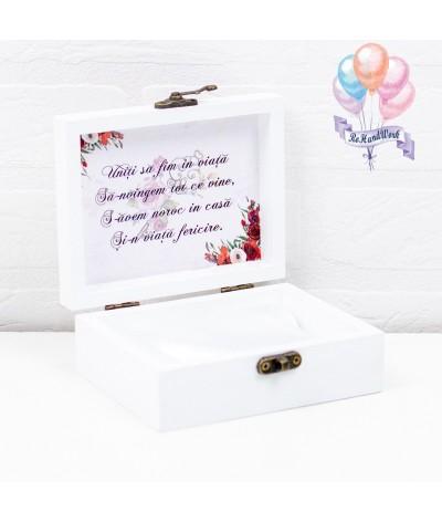 Cutie de verighete personalizata cu trandafir rosu - 1