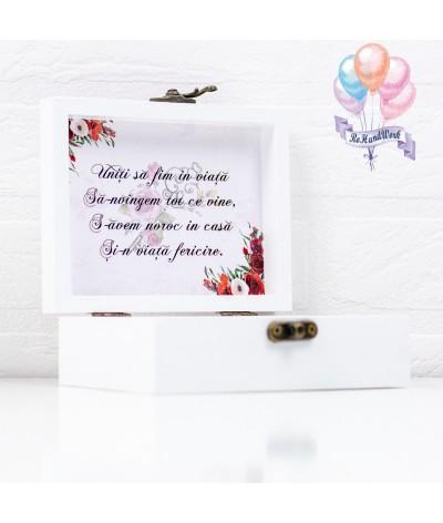 Cutie de verighete personalizata cu trandafir rosu - 3