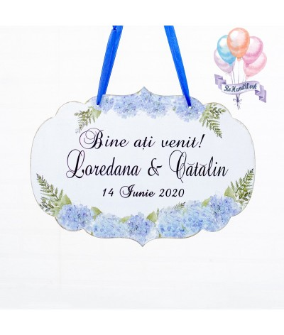 Placuta de bun venit cu hortensii bleu - 1