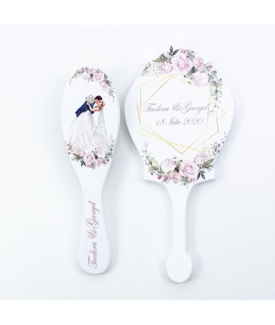 Perie si oglinda Personaje si trandafiri roz - 1