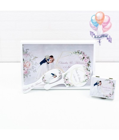 Set miresa personalizat cu flori albe - 01