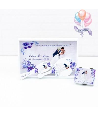 Set mireasa cu flori albastre rohandwork - 01