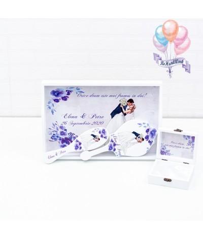 Set mireasa cu flori albastre rohandwork - 07