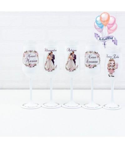 Set de pahare nunta siluete si flori - 1