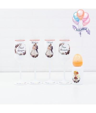 Set pahare traditional si biberon nunta - 1