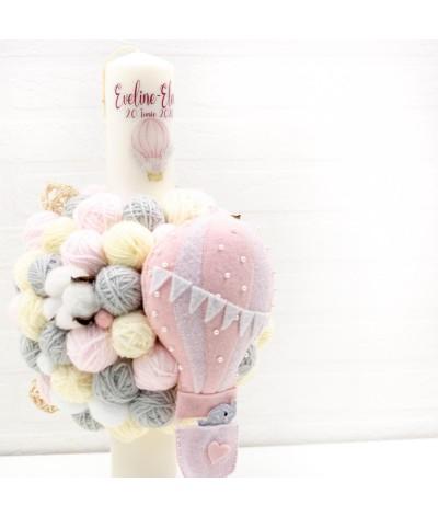 Lumanare cu gheme si mascota balon aer cald roz - 2