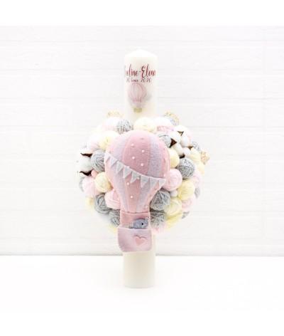Lumanare cu gheme si mascota balon aer cald roz - 1