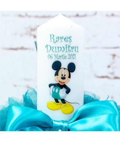 Lumanare botez tull Mickey Mouse verde turcoaz - 2