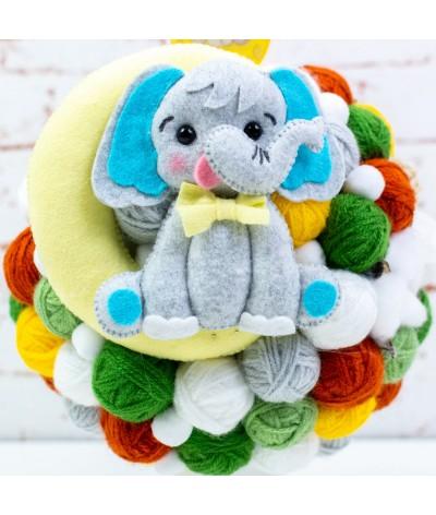 Lumanare botez cu gheme si mascota  Elefantel pe luna2 - 2