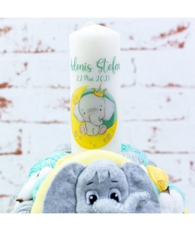 Lumanare botez cu gheme si mascota  Elefantel pe luna verde menta - 3