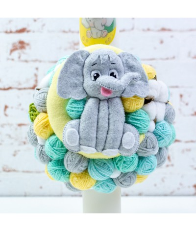 Lumanare botez cu gheme si mascota  Elefantel pe luna verde menta - 2