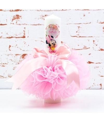 Lumanare botez tull Baby Minnie flori - 1