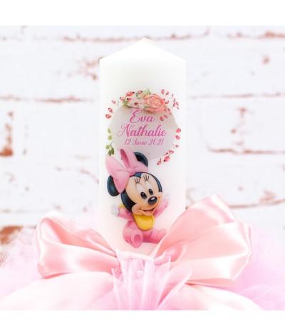 Lumanare botez tull Baby Minnie flori - 2