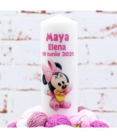 Lumanare botez cu gheme Baby Minnie roz - 3
