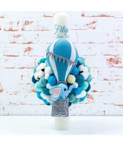 Lumanare botez cu gheme si mascota Elefantel balon albastru - 1