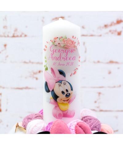 Lumanare botez cu gheme si mascota Baby Minnie - 2