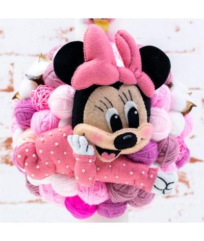 Lumanare botez cu gheme si mascota Baby Minnie - 3