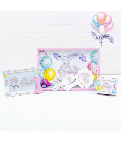 Set mot/turta Unicorn roz - 1